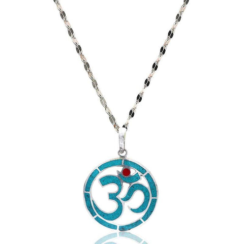 Blue And Red Om Pendant Necklace
