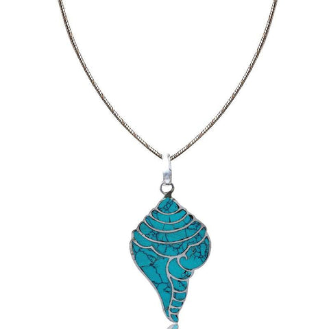 Blue Shankh Pendant Necklace