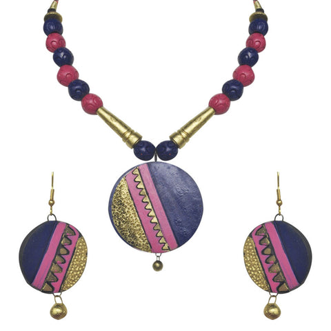 Blue And Pink Terracotta Necklace Set