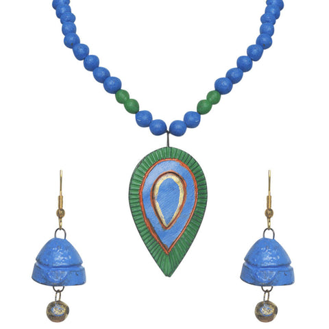 Blue And Green Terracotta Necklace Set For Women