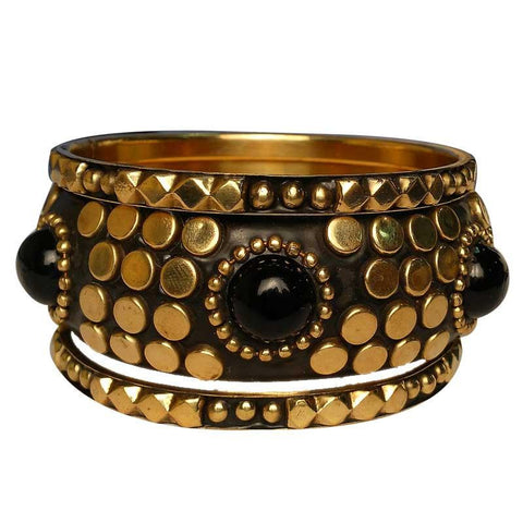 Stylish Golden And Black Bangles