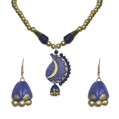 Blue And Golden Terracotta Necklace Set For Women