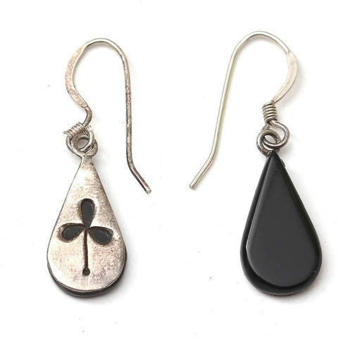 Black And Silver Tears Shaped Earrings