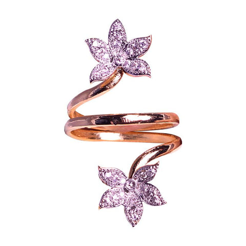 Beautiful Crystal Studded Floral Finger Ring
