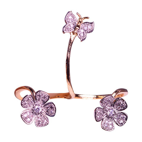 Alluring Floral And Butterfly Finger Ring
