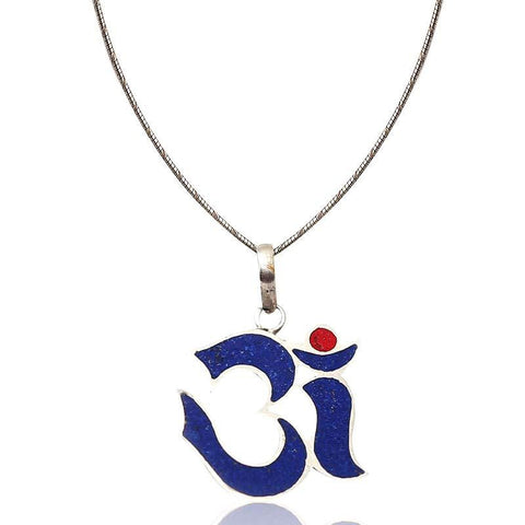 Blue Om Pendant Necklace In Sterling Silver