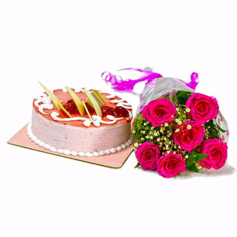 Six Pink Roses Bunch with Strawberry Cake