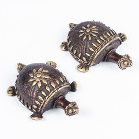 Dhokra Tortoise Table Top Set- Brown - Giftingnation