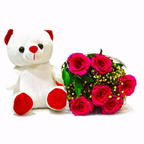 6 Red Roses Bouquet with Teddy Bear Combo