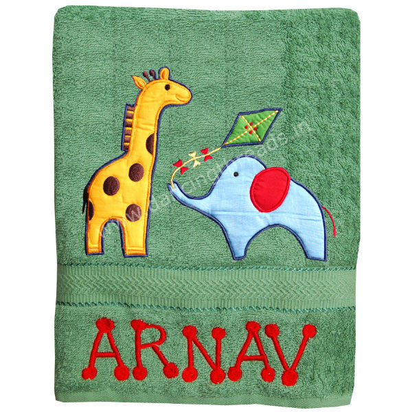 Persolized Bath Towel Jungle Green - Giftingnation