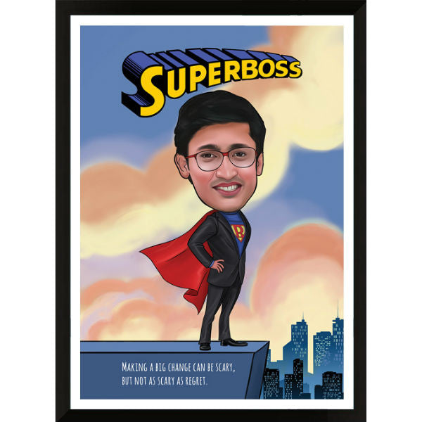 Caricature Gift Super Boss Male - Giftingnation