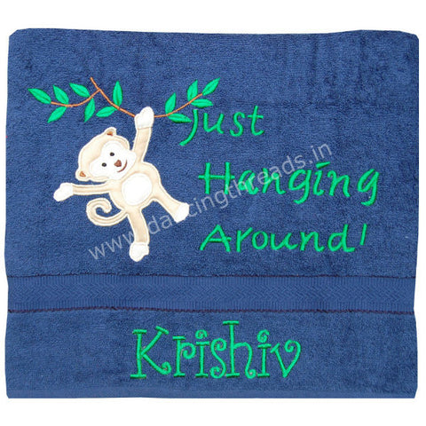 Personalized Bath Towel Hanging monkey Navy Blue - Giftingnation
