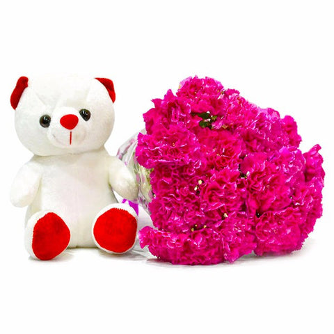 Fifteen Pink Carnations Bunch with Cuddly Bear