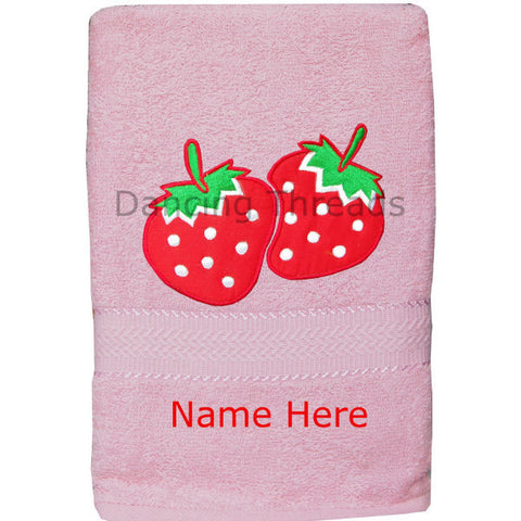 Personalized Bath Towel Strawberry Baby Pink - Giftingnation