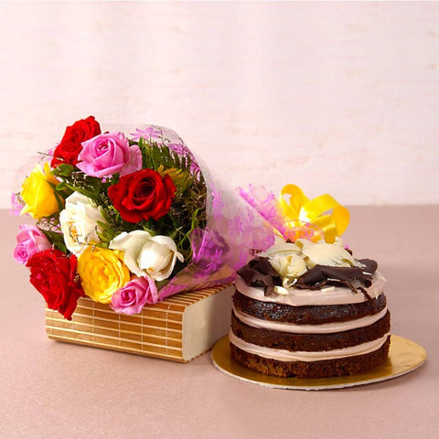 Roses Bouquet with Chocolate Sponge Creamy Cake