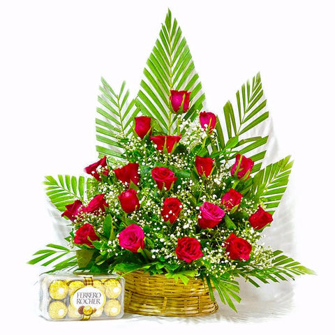 Basket Arrangement of Red Roses with Ferrero Rocher Chocolate Box