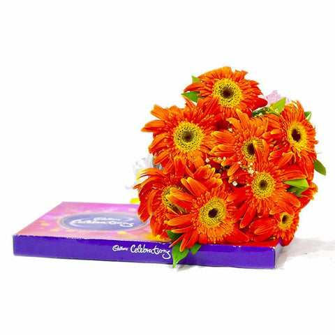 Bouquet of Gerberas with Celebration Chocolate Box