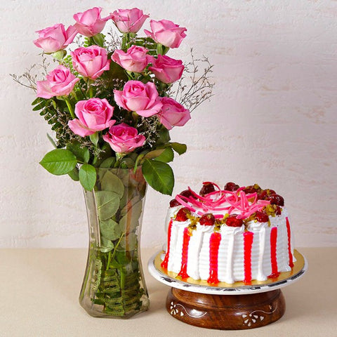 Strawberry Cake with Pink Roses in a Glass Vase
