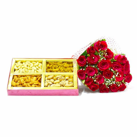 Bouquet of 20 Roses with Box of 1 Kg Assorted Dryfruit Combo