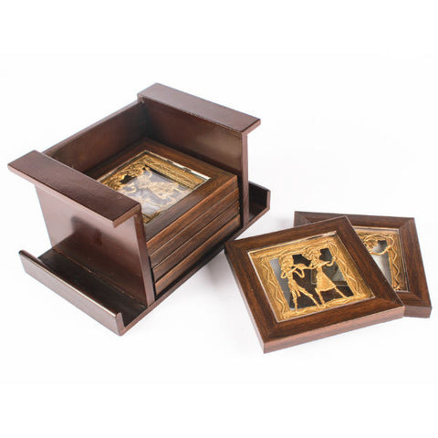 Dhokra Art glass encased coasters - Giftingnation - 2