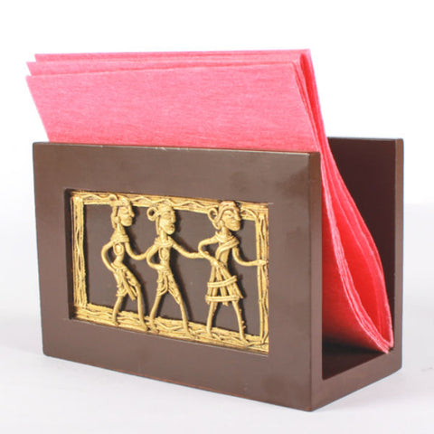 Wooden napkin holder with Dhokra Art figurines - Giftingnation - 2
