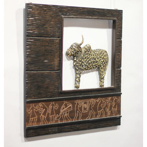 Brown Gold Wood & Metal Jaali Nandi Frame - Giftingnation - 2