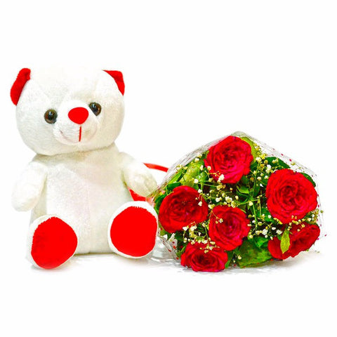 Bouquet of Six Red Roses with cute Soft Toy