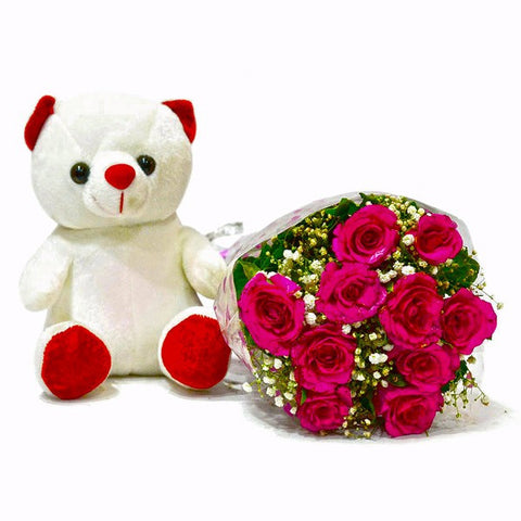 Bouquet of Ten Pink Roses with Teddy Bear