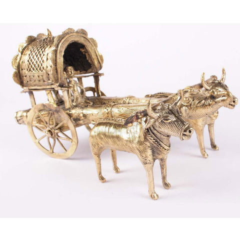 Bronze Metal Bullock Cart Figurine Showpiece - Giftingnation - 1
