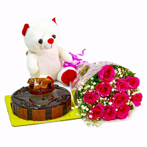 Bouquet of Pink Roses with Cute Teddy and Chocolate Cake