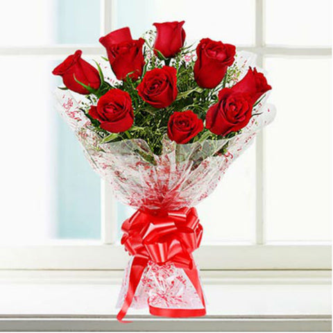 Vivid 10 Rose Flower Bouquet - Giftingnation