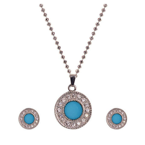 Classy Crsytal Studded Silver and Blue Necklace Set - Giftingnation - 1