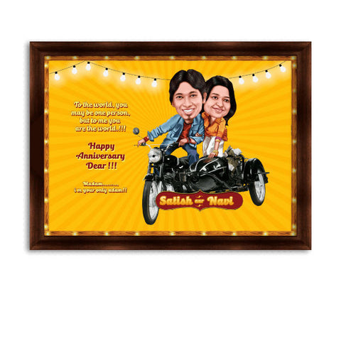 Bunty Aur Babli Movie Style Caricature Gift for Couple Anniversary - Giftingnation