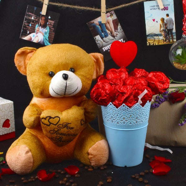 Chocolate Basket with Teddy for Cute MOM