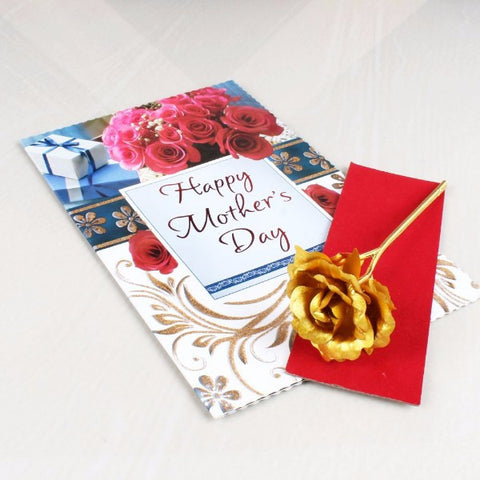 Mothers Day Greeting with Golden Rose