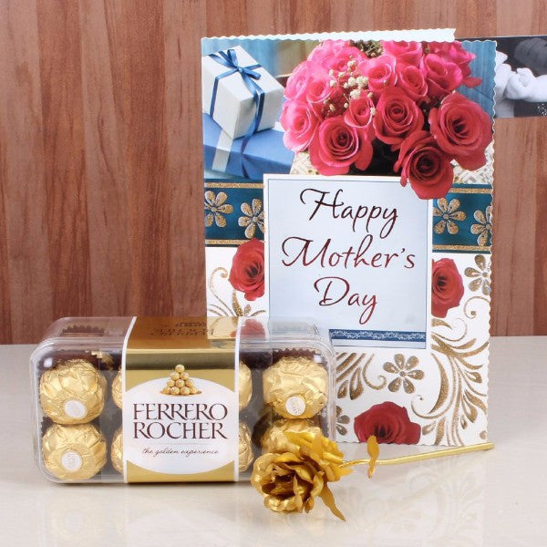 Ferrero Rocher Box and Golden Rose with Mothers Day Card