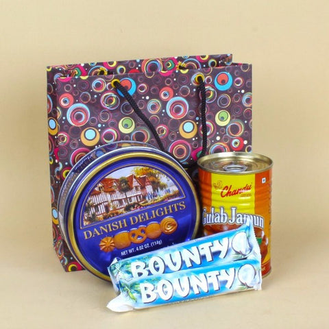 Gulab Jamun Tin and Bounty Chocolate with Butter Cookies