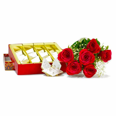 Six Red Roses Bouquet with Kaju Katli Box