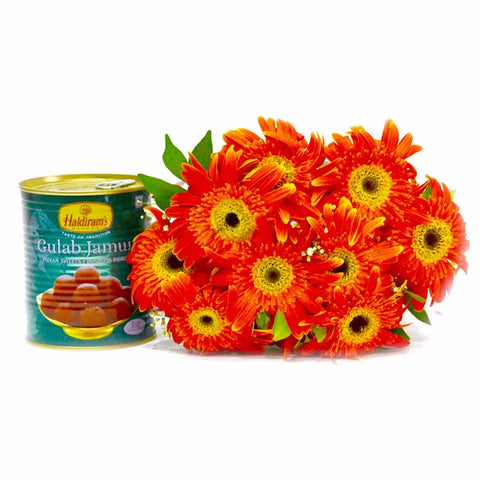 Ten Orange Gerberas with Mouthwatering Gulab Jamuns
