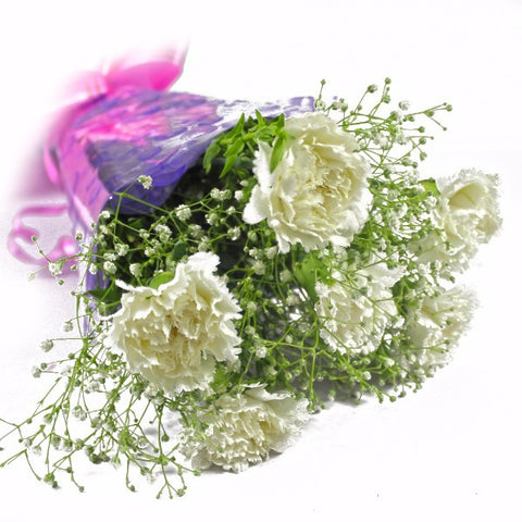 Six White Carnations Bunch