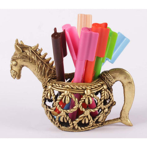 Dhokra Art horse pen stand - Giftingnation - 1