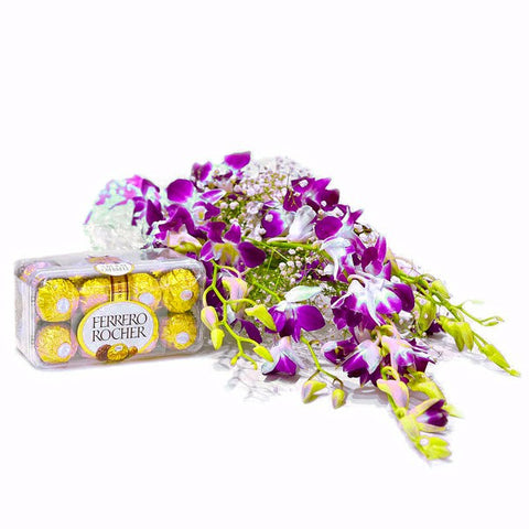 Bouquet of 6 Orchids with Ferrero Rocher Chocolate Box