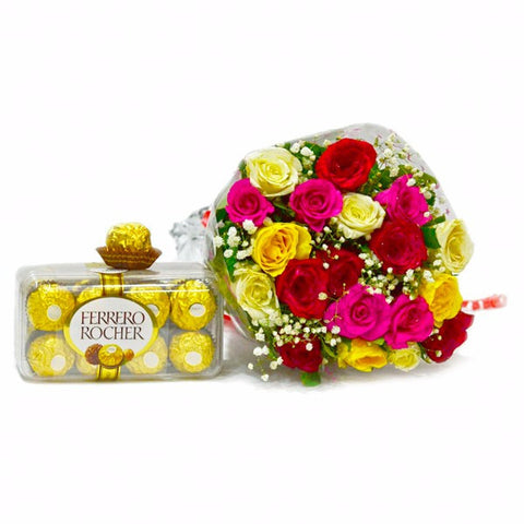 Bouquet of 20 Mix Roses with 200 Gms Fererro Rocher Chocolate Box