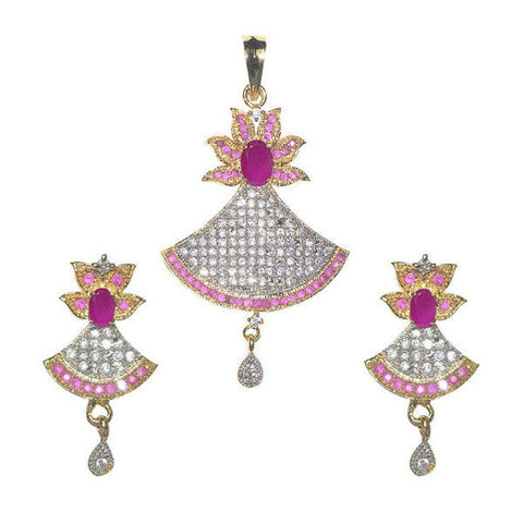 Shimmering CZ Studded Floral Locket Set - Giftingnation - 1