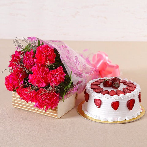 Pink Carnations with Fresh Cream Strawberry Cake