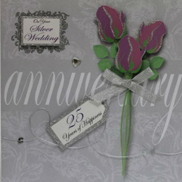 Silver Wedding Anniversary Greeting Card - Giftingnation