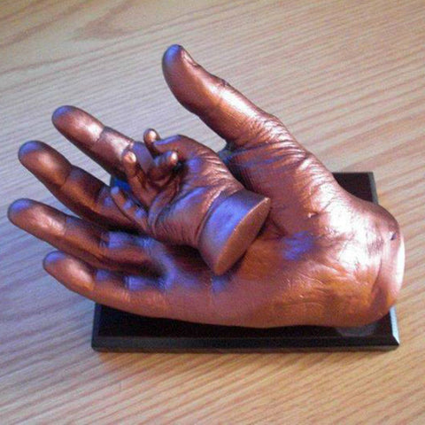 3D Casting of Parents Hand Holding Baby's Hand Bronze