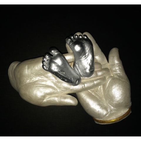 3D Casting of Parents Hand Holding Baby's Feet
