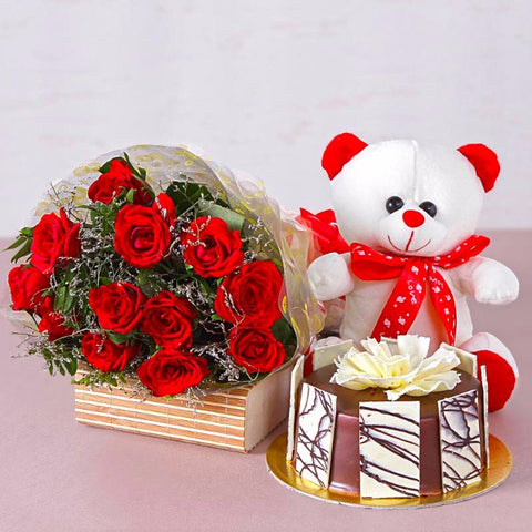 Bunch of Twelve Red Roses with Bear and Chocolate Cake