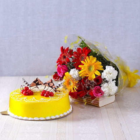 Assorted Flowers with Pineapple Cake